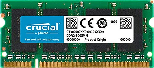 Crucial 1GB DDR2-667, PC2-5300, 200-pin SODIMM CL=5 Unbuffered NON-ECC Laptop Memory - CT12864AC667