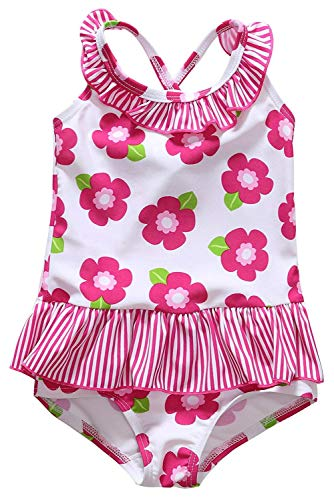 ALove Girls Floral Swimming Suit Ruffled One Piece Swimwear Bathing Suits 3T