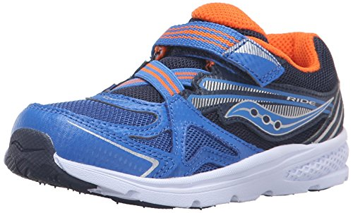 Saucony Boys' Baby Ride Sneaker , Blue/Orange, 12 W US Little Kid