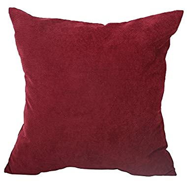 Deconovo Corduroy Tufted Pillow Case Cushion Cover For Sofa, 18x18-inch, Dark Red