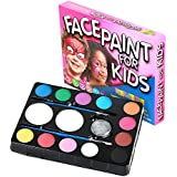 Face Paint Kit for Kids. 12 Color Party Palette. Best Value Face Painting Set with More Paint! Professional Quality. Glitter, Brushes & Sponges. Great for Parties, Boys and Girls Face Painting Kits