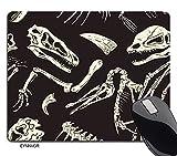 EYNNVGR Dinosaur Mousepad Monochrome Dinosaurs Fossil Pattern Rectangle Non-Slip Rubber Mousepad Gaming Mouse Pad 7.9'X9.5'
