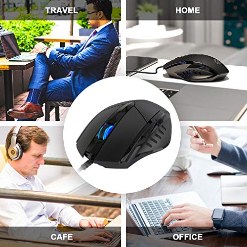 Inphic Wired USB Mouse, Silent Click and Optical Tracking,1200DPI, 3-Button Corded Mouse for PC Computer Laptop MacBook Office, Black