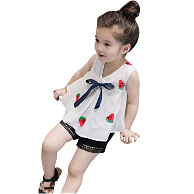 3-7 Years Old Girls,Yamally_9R Baby Kids Girls Bowknot T-Shirt Vest Tops with Hollow Shorts Pants Clothes Set,2 Pieces Set