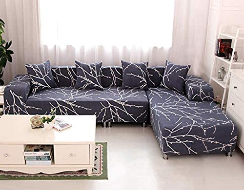 WOMACO L Shape Sofa Covers Sectional Sofa Cover 2 pcs Stretch Sofa Slipcovers for L-Shape Couch (L-Shape 3+3 Seats, Blue Tree)