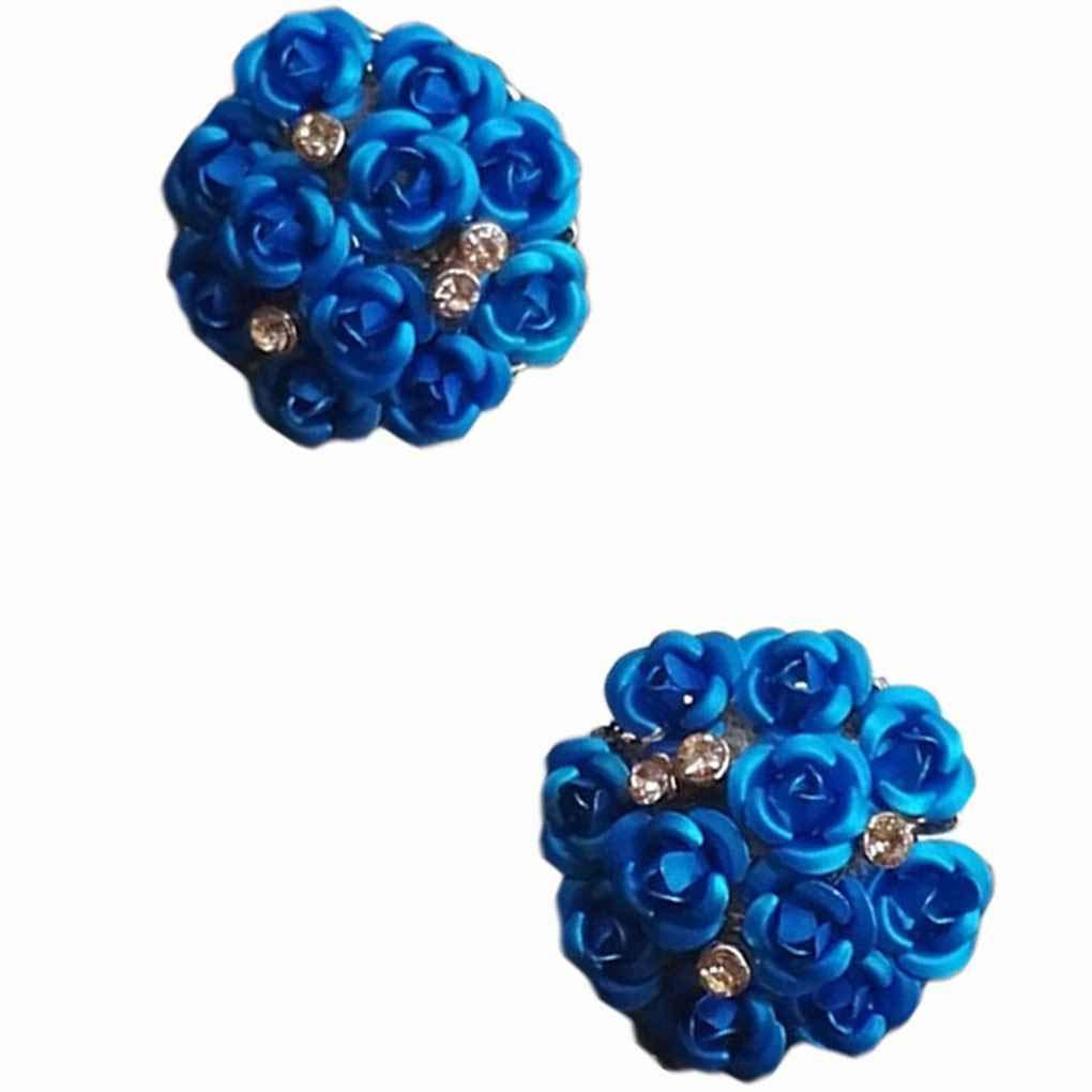 Beaums 1 Pair Round Rose Bouquet Earrings Crystal Rose Wedding Flower Stud Earrings Women Girls Jewelry