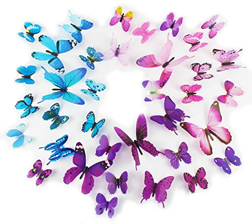 Epy Huts Kids' Wall Sticker Art Decor 3D Lively Butterflies DIY Art Wedding Decor Crafts 36 Pcs,Purple,Pink,Blue ()