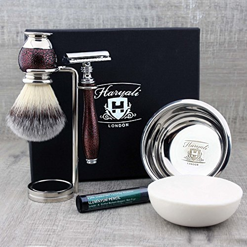 Synthetic bager Look Alike Men's Shaving Brush, DE Safety Razor, Dual Stand with Bowl&Soap.Christmas Present for The Friend!!! Haryali London