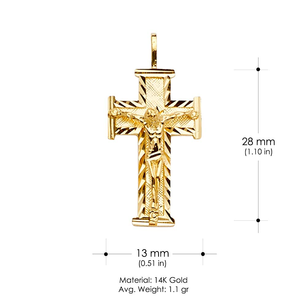 Ioka 14K Yellow Gold Crucifix Cross Religious Charm Pendant For Necklace or Chain