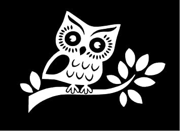 amazon just for fun white 7 x 5 owl on branch vinyl die cut Live for Fun just for fun white 7 x 5 owl on branch vinyl die cut decal bumper