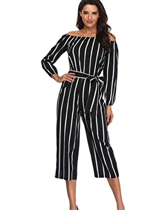 cce4beee9332 Amazon.com  Argstar Off Shoulder Jumpsuits for Women Casual Striped 3 4  Sleeve Sexy Strapless Rompers Cropped Pants with Blet Clearence  Clothing