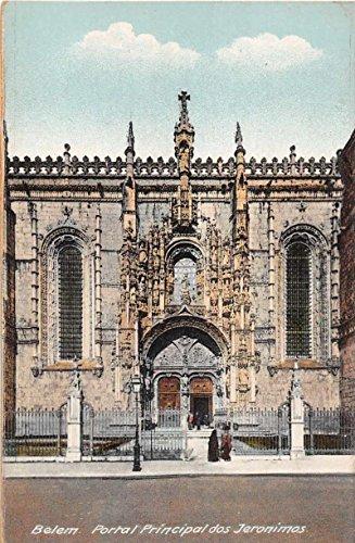 Jeronimos Monastery - Belem Portugal Jeronimos Monastery Main Gate Antique Postcard J50228