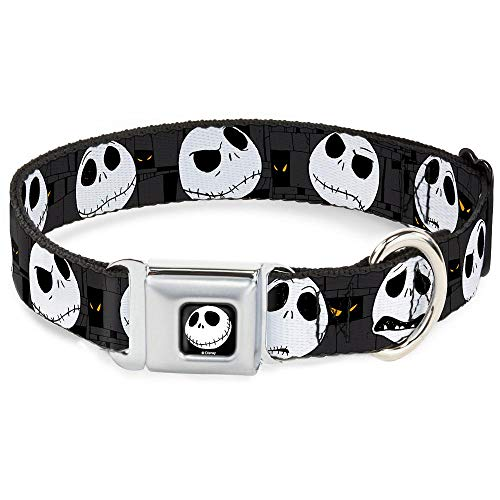 Buckle Down Dog Collar Dyad-Jack Smile Full Color - Nightmare Before Christmas Jack Expressions Gray - Wide-Medium 16-23
