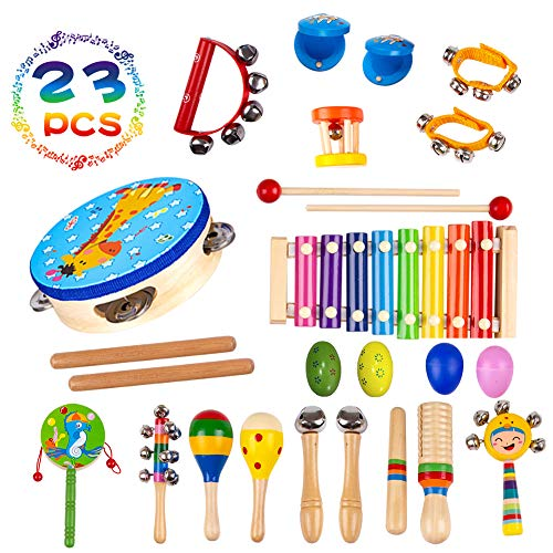Musical Instruments Toys for Toddlers-14Types Wooden Percussion Instruments for Kids with Adorable Backpack Storage Bag by Buself (23 PCS) ()