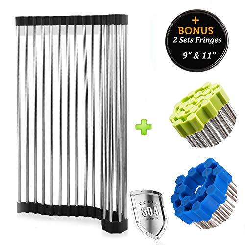 Silicone Solutions Set Bakeware (Flexible Roll Up Dish Drying Rack - Over Kitchen Sink Large or Small Silicone Fringe Drying Rack Mat, Drain Board Colander Mat, Dry Dishes Organizer, Foldable Storage Stainless Steel Dishes Drainer)
