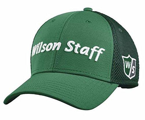 2015 Wilson Staff Mesh Golf Hat Adjustable Structured Baseball Cap- Green/ White