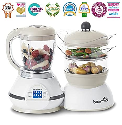 Babymoov Nutribaby Classic Multifunction Baby Food Processor, Steamer, Blender & Sterilizer, Cream A001115_UK