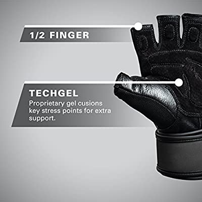 Harbinger Training Grip WristWrap Tech Gel-Padded Leather Palm Weightlifting Gloves, Pair