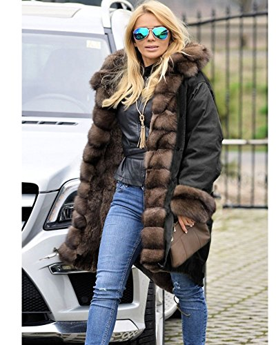 c73c857deb1 Roiii Ladies Quilted Casual Vintage Faux Fur Collar Warm Thick Womens  Jacket Coat