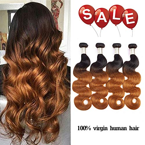 Finest Remy Wholesale Grade 7A Ombre Body Wave Bundles 4pcs Brazilian Virgin Hair Human Hair Weave Two Tone Total 280g(18/18/20/20 Inch, 1B/30)