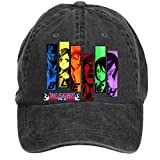 Jidlg Custom Washed Mens Cotton Bleach All Characters Anime Stencil Poster Adjustable Baseball Cap Black