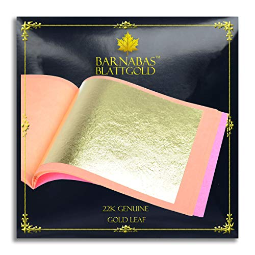 Genuine Gold Leaf Sheets 22k - by Barnabas Blattgold - 3.1 inches - 25 Sheets Booklet - Loose Leaf ()