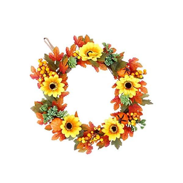 Artificial Flower Wreath Rattan Maple Leaf Fall Door Wreath for Thankgiving Home Door Wall Ornament