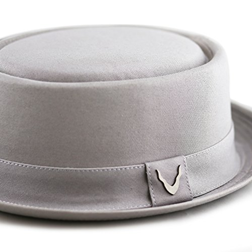 THE HAT DEPOT Black Horn Cotton Plain Pork Pie Hat (Large, Grey) by THE HAT DEPOT (Image #5)