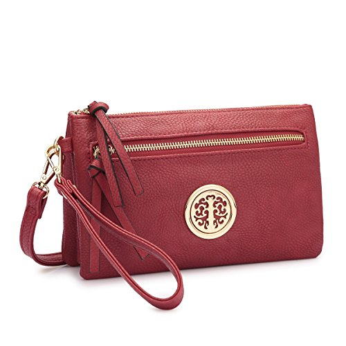 Gold 7217 Messenger Bag~Fashion Cross Collection MKP body Tone Burgundy Clutch Handbag q5SzqWt