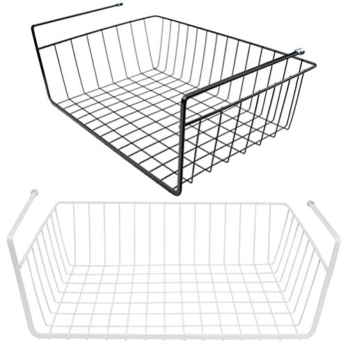 (Tebery 2 Pack Under Cabinet Storage Shelf Wire Basket Organizer Fit Dual Hooks for Kitchen Pantry Desk Bookshelf - White & Black)