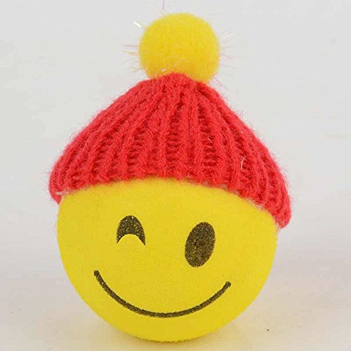 - APCS New Yellow Happy Smiley  Face With Wool Hat Car Antenna Pen Topper Aerial Ball