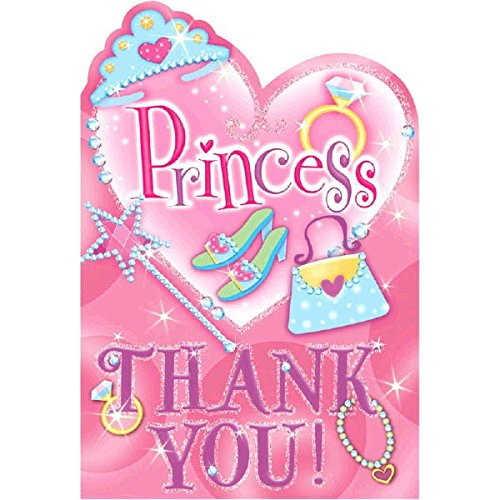 Amscan Pretty Princess Thank You Notes Birthday Party Supply  (8 Pack), 3 7/8