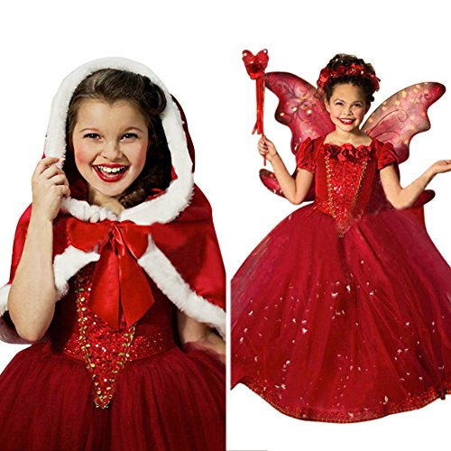 [EITC Girls Princess Dress Costume Red Chiffon Long Dress with Cloak Party(2-7Y)] (Flower Fairy Costume Ideas)