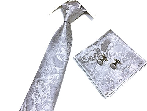 Mens Sivler Paisley Tie Events Formal Handsome Party Necktie for Best Ideal Gift