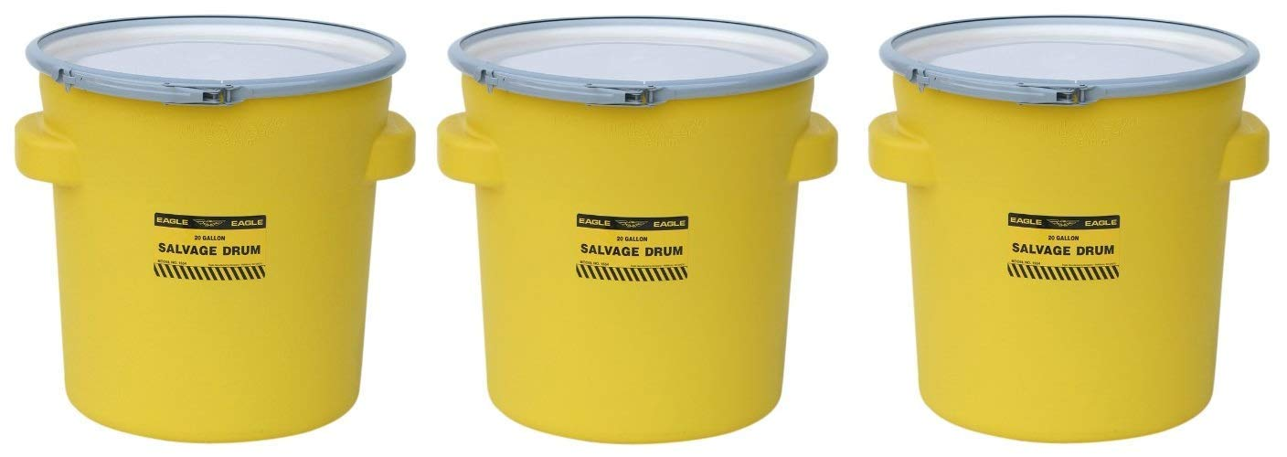 Eagle 1654 Yellow Blow-Molded HDPE Salvage Drum with Metal Ring Lever-Lock Lid, 20 gallon Capacity, 21'' Height, 21'' Diameter (Pack of 3)
