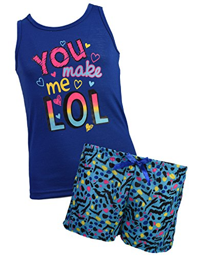 Pj Tank (Sleep & Co Girl\'s 2-Piece Tank and Short Pajama Set, Indigo, Size 12')