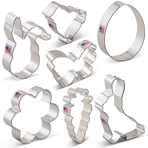Cookie Cutter Set 7 Piece (Easter Cookie Cutter Set - 7 piece - Egg, Carrot, Bunny, Flower, Chick, Bunny Face and Butterfly - Ann Clark - Tin Plated Steel)