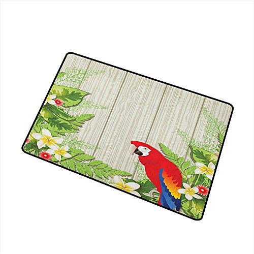 Parrot Washable Doormat Tropic Flowers and African Parrot in Summer Garden Wooden Wall Ferns Artwork with No-Slip Backing 24