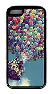 LJF phone case iphone 5/5s case, Cute Balloon House iphone 5/5s Cover, iphone 5/5s Cases, Soft Black iphone 5/5s Covers