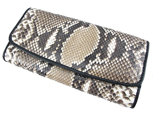 (PELGIO Genuine Python Snake Skin Leather Women's Trifold Clutch Wallet (Reticulated Natural))