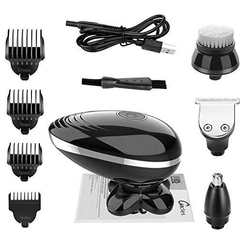 Kibiy Electric Shavers for Men Bald Head Shaver Mens Electric Razors for Shaving Rechargeable Cordless Wet/Dry Rotary Shaver with Clippers Nose Hair Trimmer Facial Cleansing Brush