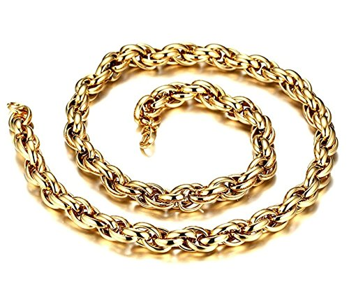 mens Stainless Steel Chain Necklace Wheat Link Gold Necklace Unisex Wedding Necklace Jewelry Aooaz - Spice Baby Necklace