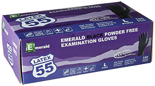 Emerald 1003 Black Latex Powder-Free Exam Gloves with Textured Grip, 10 Boxes of 100, Total 1000 Gloves Size: Large, by Emerald (Image #1)