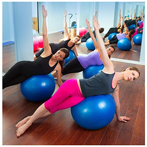 PVC Yoga Swiss Ball With Pump Strength Exercise And Fitness Stability Trainer Balancing Anti Burst No Slippery