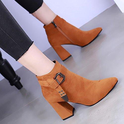 khskx-european invierno tejer hebilla de cinturón de botas de tacón alto con gruesas Martin botas estilo británico botas zapatos de tacón marrón