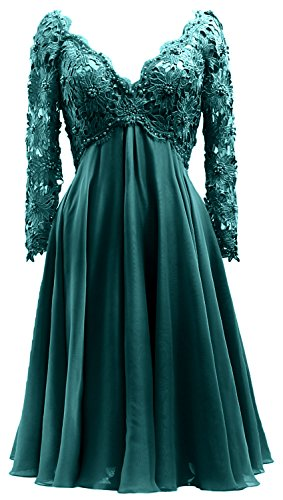 Macloth Of Neck Long Women Teal Gown Lace The V Bride Mother Dress Formal Midi Sleeve rwcgCqrZ1