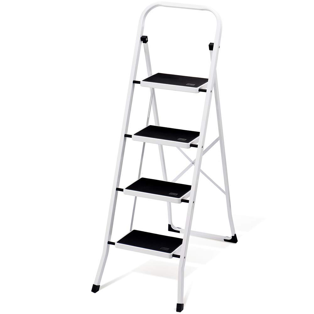 Delxo Folding 4 Step Ladder with Convenient Handgrip Anti-Slip Sturdy and Wide Pedal 330lbs Portable Steel Step Stool White and Black 4-Feet (Renewed) by Delxo