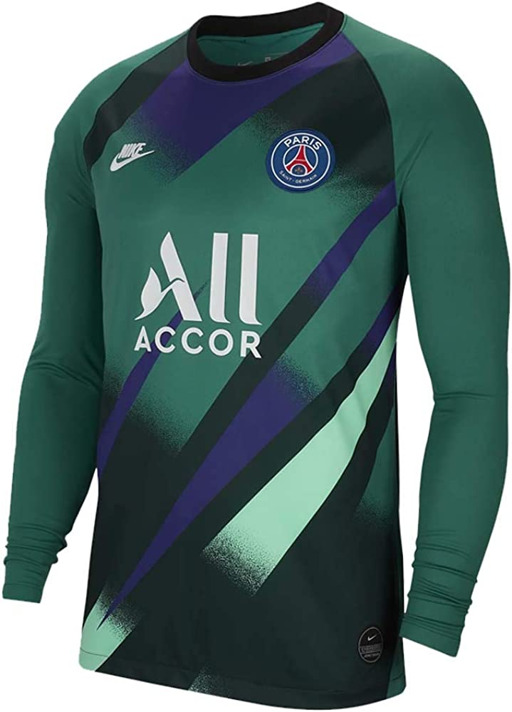 Amazon Com Nike 2019 2020 Psg Home Goalkeeper Football Soccer T Shirt Jersey Green Kids Clothing