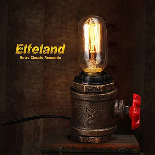 Elfeland Vintage Table Lamp - with UL Listed Button Switch Cord - Steampunk Industrial Desk Lamp - E26/E27 Base Non-Dimmable for Loft Bedroom Study (Bulb Not Included)