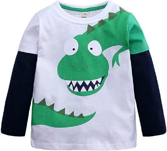 Hooyi Camiseta de Dinosaurio para Niños Pequeños Top de Manga Larga Cuello Redondo Camisa de Fondo: Amazon.es: Ropa y accesorios